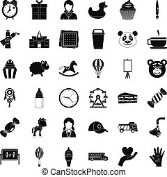 Playing center icons set, simple style