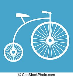 Penny-farthing icon white isolated on blue background vector...