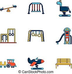 Outdoor sports ground icons set, flat style