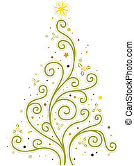 Christmas Tree Design Featuring Vines Forming the Shape of a...