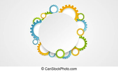 Abstract tech colorful gears and blank circle video...