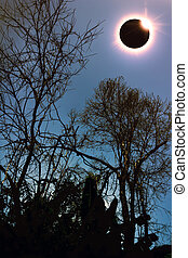 Amazing scientific natural phenomenon. Total solar eclipse...