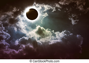 Amazing scientific natural phenomenon. Total solar eclipse...