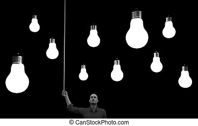 Man with a lightbulbs above his head. This is a 3d render...