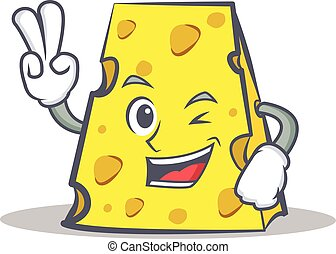 Two finger cheese character cartoon style vector...