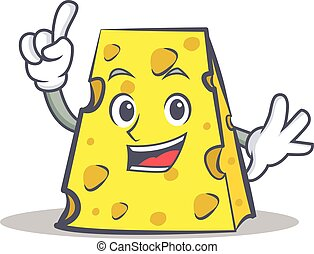 Finger cheese character cartoon style vector illustration
