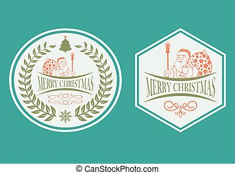 Christmas design with a silhouette of Santa Claus set