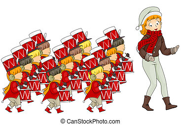 12 Days of Christmas - Illustration of a Woman Leading 12...