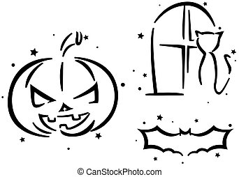 Halloween Stencil Featuring a Jack o Lantern, a Cat, and a...