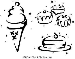 Food Stencil Featuring Cakes and Ice Cream