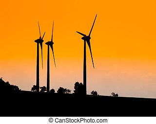 gebraucht, elektrisch, Turbinen, Energie, drei, ökologisch, Sonnenuntergang, silhouetten, Produzieren,  Wind