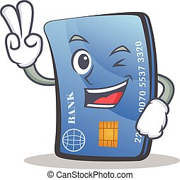Two finger credit card character cartoon