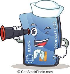 Sailor credit card character cartoon with binocular