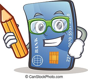 Student credit card character cartoon with pencil