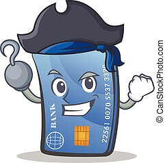 Pirate credit card character cartoon