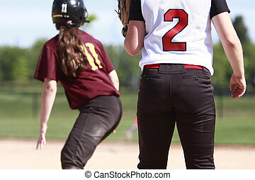 Softball players on the field