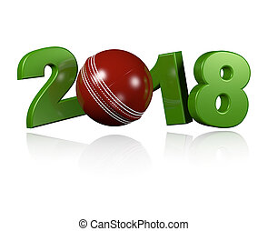 Cricket ball 2018 Design with a white Background
