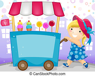 Party Invitation Featuring a Kid Pushing a Cart Carrying...