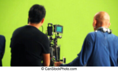 Blurred behind the scenes of video movie production