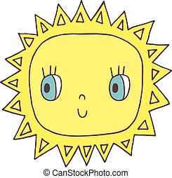 Cute yellow vector sun character in flat style for kids...
