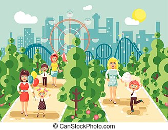Vector illustration walk stroll promenade boy and girl with...