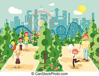 Vector illustration walk stroll promenade of parents with...