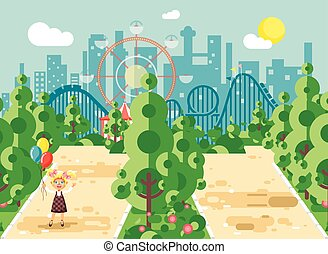 Vector illustration walk stroll promenade girl, school child, child s day, holds balloons in hands on alley pavement in amusement park outdoor, roller coaster switchback background flat style
