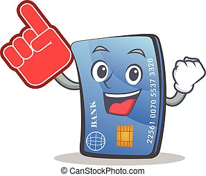 credit card character cartoon with foam finger