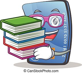 Student credit card character cartoon with book