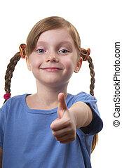 Thumb Up - Funny smiling little girl portrait isolated over...