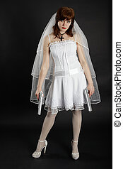 Bride in white dress armed with two pistols - The bride in...