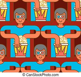Cinema seamless pattern. Spectator in stereo glasses and popcorn background. viewer background