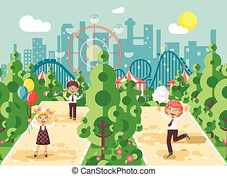 Vector illustration walk stroll promenade boys girl children child s day, balloons, ice cream, cotton candy alley pavement amusement park outdoor, roller coaster switchback background flat style