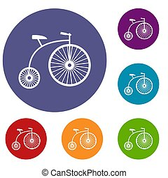 Penny-farthing icons set in flat circle reb, blue and green...