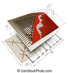 house roof 3D design - Architectural composition with the 3D...