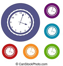 Watch icons set in flat circle reb, blue and green color for...