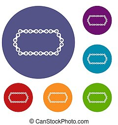 Bicycle chain icons set in flat circle reb, blue and green...