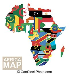 Vector map of Africa with flags