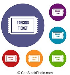 Parking ticket icons set in flat circle reb, blue and green...