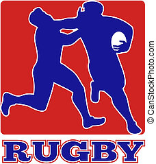Rugby player run fending off tackle