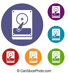 HDD icons set in flat circle reb, blue and green color for...
