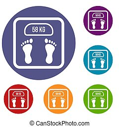 Weight scale icons set in flat circle reb, blue and green...