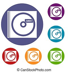 CD with danger lettering icons set in flat circle reb, blue...