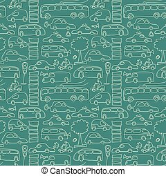 Green Seamless Transport Pattern