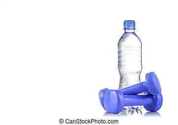 Fitnes symbols - blue dumbbells, a bottle of water and a...
