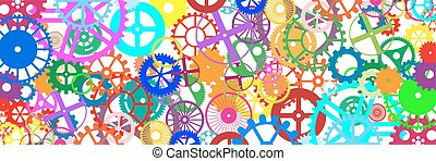 Gears Banner - Gears and wheels. Artistic multicolored...