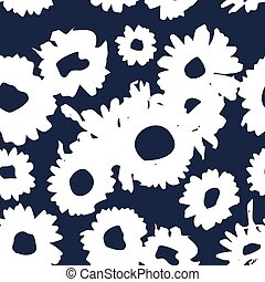 Dark Indigo pattern with daisies. Millefleurs liberty style....