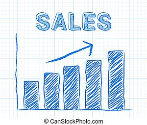 Sales Up Graph Paper - Increasing graph and sales word on...