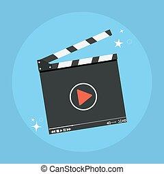 Clapper board icon. Film production concept . Vector...
