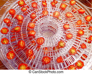 Dried Tomatoes - Layer of dried cherry tomatoes in an...